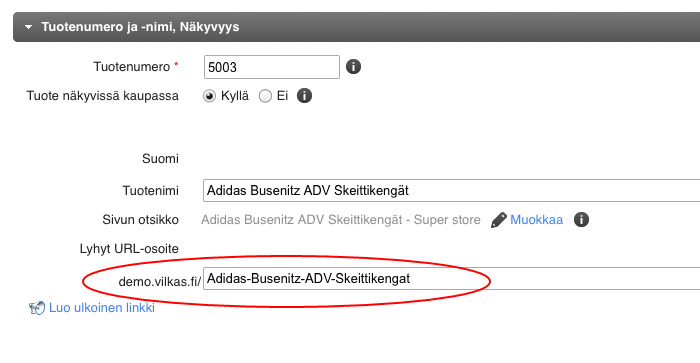 Selkokielinen URL tuotesivulle