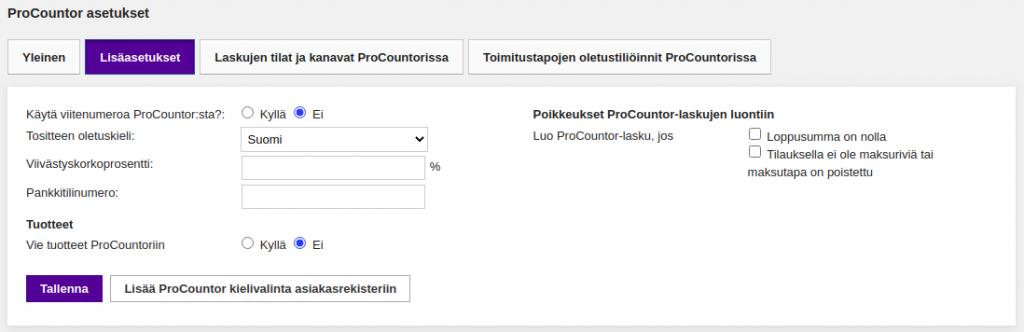Vilkas - Procountor - Lisäasetukset