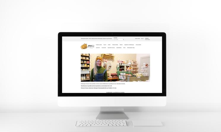 Ekokauppa Oranssin Oravan verkkokauppa näyttöpäätteellä